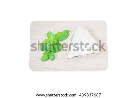 Coconut Pie Isolated on white background. Has clipping path. - stock photo