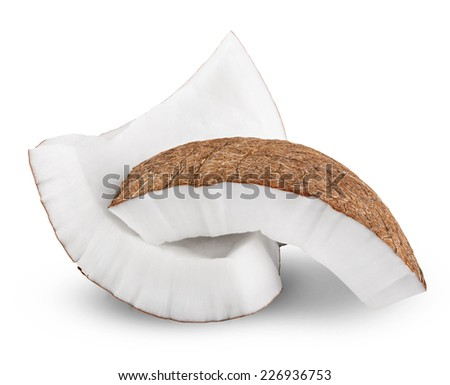 Coconut Pieces on white background. Clipping Path - stock photo