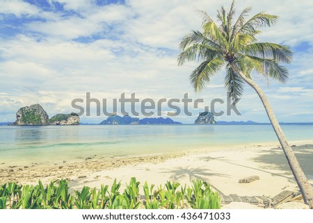Coconut tree and beach at Ngai Island, an island in the Andaman Sea, Thailand (Vintage filter effect used) - stock photo