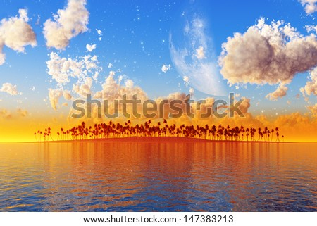 coconut tropical island with clouds and big moon behind him in sunset. Elements of this image furnished by NASA - stock photo