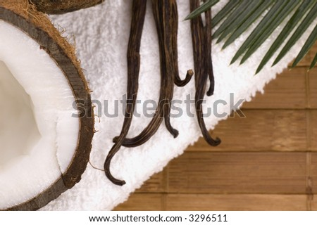 coconut, vanilla, palm leaf and white towel. exotic scene - stock photo