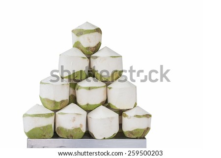 Coconut Water Drink isolated on white background - stock photo