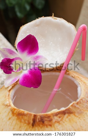 coconut water drink, thailand. - stock photo