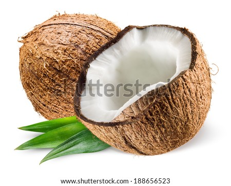 Coconut with leaf on white background - stock photo