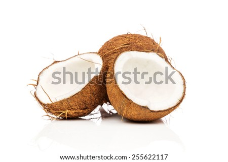 Coconuts on white background - stock photo