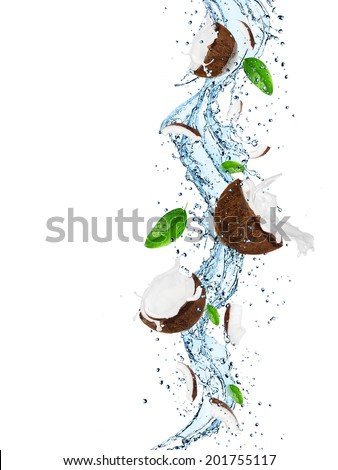 Coconuts with water splash isolated on white - stock photo