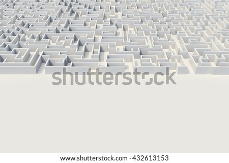 Cocrete labyrinth, complex problem solving concept. 3d illustration - stock photo