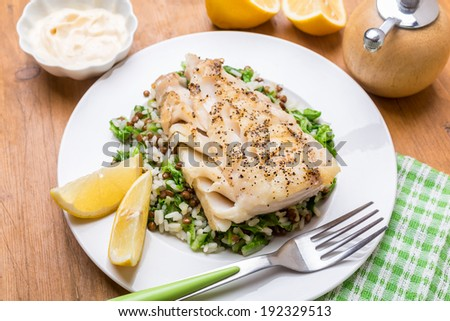 Cod  with Lentil, Rice and Silver Beet Pilaf - stock photo