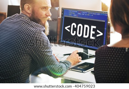 Code Coding Programming Technology Technical Concept - stock photo