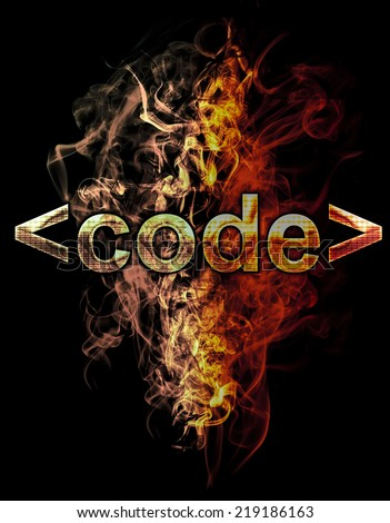 code, illustration of  number with chrome effects and red fire on black background - stock photo
