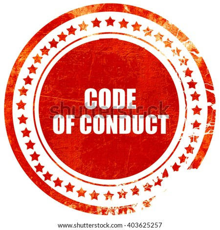 code of conduct, grunge red rubber stamp on a solid white backgr - stock photo