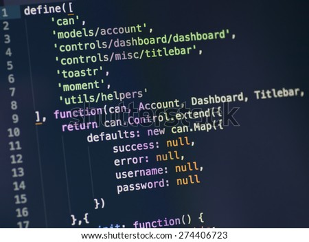 Code syntax on a computer screen - stock photo