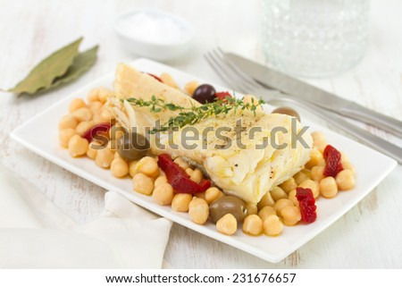 codfish with chick-pea and red pepper - stock photo
