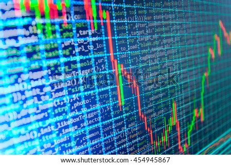 Coding and business. Computer source code and stock graph chart on monitor screen. Modern Internet web technology and business financial background photo.  - stock photo