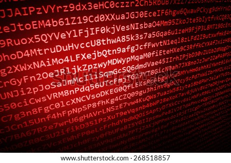 Coding application by programmer developer. Web app coding. Script on computer with source code. Programming code abstract background screen of software. Red color.  - stock photo