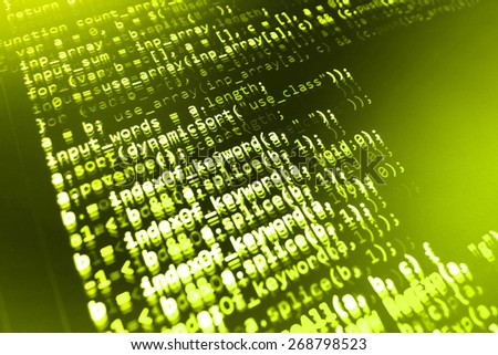 Coding application by programmer developer. Web app coding. Script on computer with source code. Programming code abstract background screen of software. Green color.  - stock photo