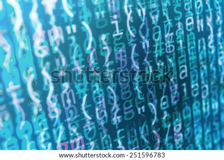 Coding programming source code screen. Colorful abstract data display. Software developer web program script. Blue background color, white text chars and digits.  - stock photo
