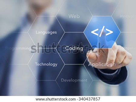 Coding symbol on virtual screen about developing apps or websites - stock photo