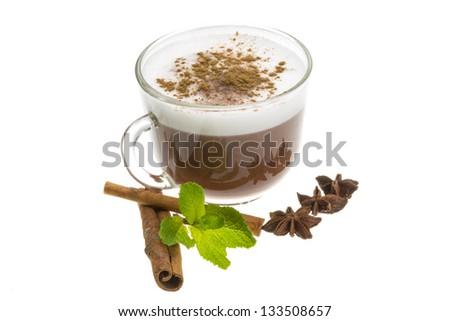 Cofee witn milk and cinnamon - stock photo