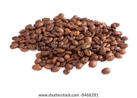 coffe beans background isolated on white background - stock photo