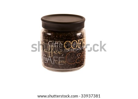 Coffe beans in a coffee can on white background - stock photo