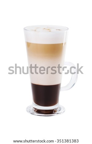 Coffe mocha with condensed milk and chocolate. Isolated on white background - stock photo
