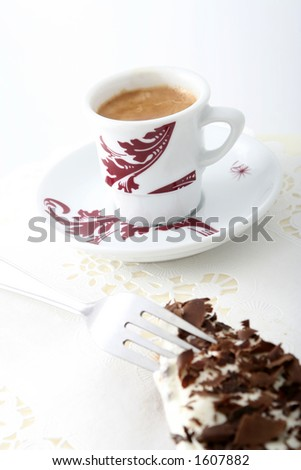 Coffee and a chocolate cake - stock photo