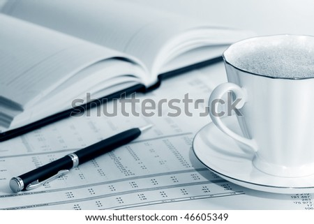 Coffee and accounting. - stock photo