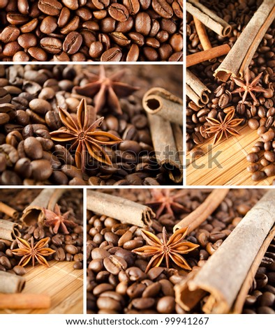 Coffee and anise collage - stock photo