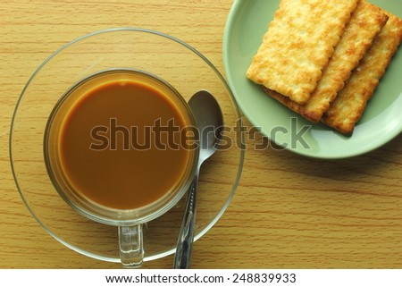 coffee and biscuits during a break from work - stock photo