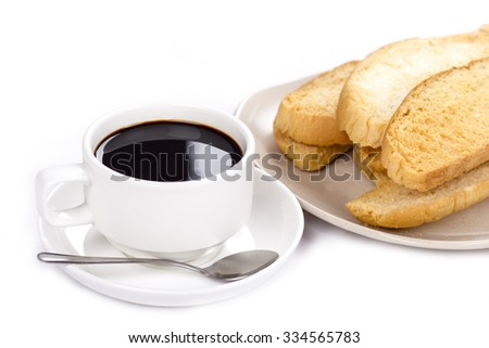 coffee and bread on isolated background - stock photo
