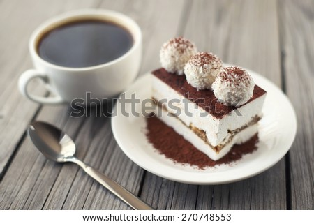 Coffee and cake as a morning meal. Tasty food background - stock photo