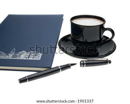 coffee and calendar on white background - stock photo