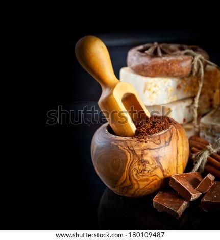Coffee and Chocolate handmade soap.Organic spa.Anti-cellulite treatments.  - stock photo