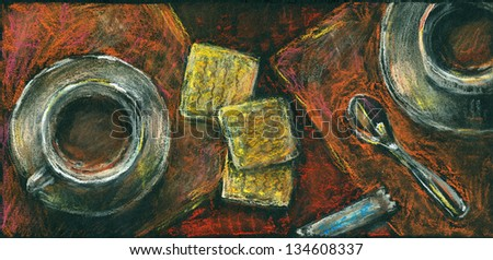 Coffee and cookies. Two cup of coffee on a table, view from the top. Pastels on a black paper. - stock photo