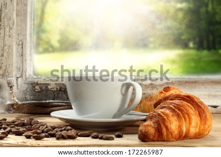 coffee and garden  - stock photo