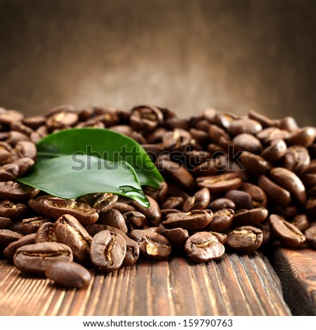 coffee and green leaf  - stock photo