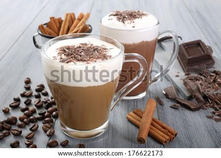 coffee and milk - stock photo