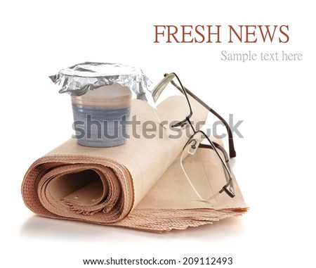 Coffee and newspaper. - stock photo