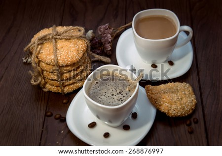 coffee and oatmeal cookies - stock photo