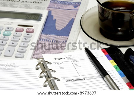 Coffee and Stock Investment - stock photo