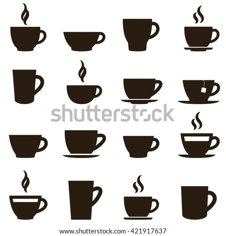 coffee and tea cup set. Raster version - stock photo