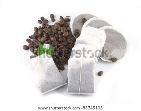 Coffee and tea on a white background - stock photo