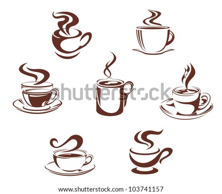 Coffee and tea symbols and icons for beverage design, such logo. Vector version also available in gallery - stock photo