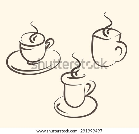 Coffee and tea symbols and icons for fast food, restaurant design or template - stock photo