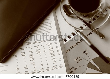 Coffee and Toned report - stock photo