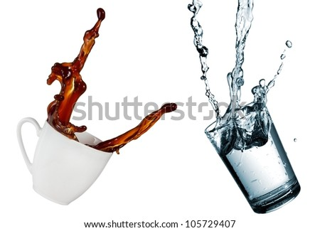 Coffee and water up - stock photo