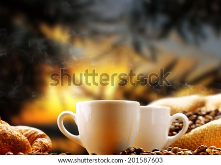 coffee 'at sunset - stock photo