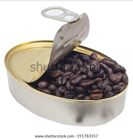 Coffee Bean from a Metal Tin on a white background. - stock photo