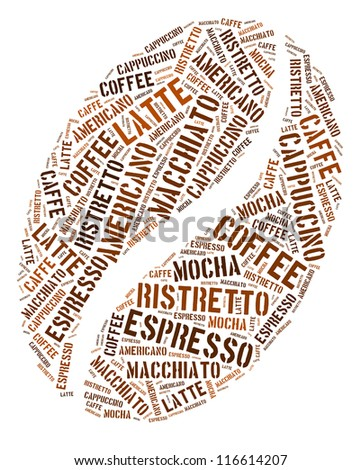 Coffee bean in words arrangement graphic illustration - stock photo